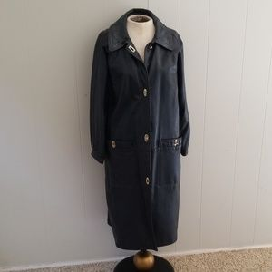 Vintage Navy Purple Leather Trench Coat